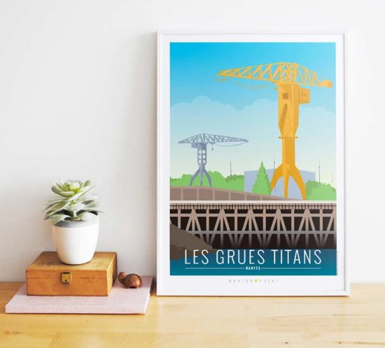 Nantes illustrée - affiche grues