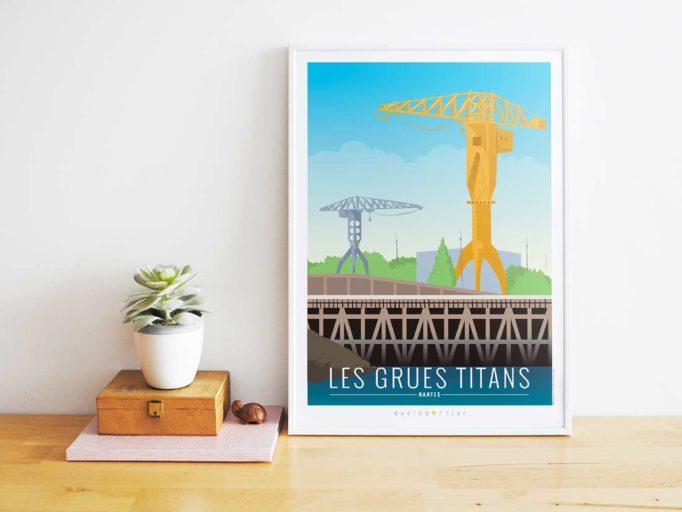 Nantes illustrée - affiche grues