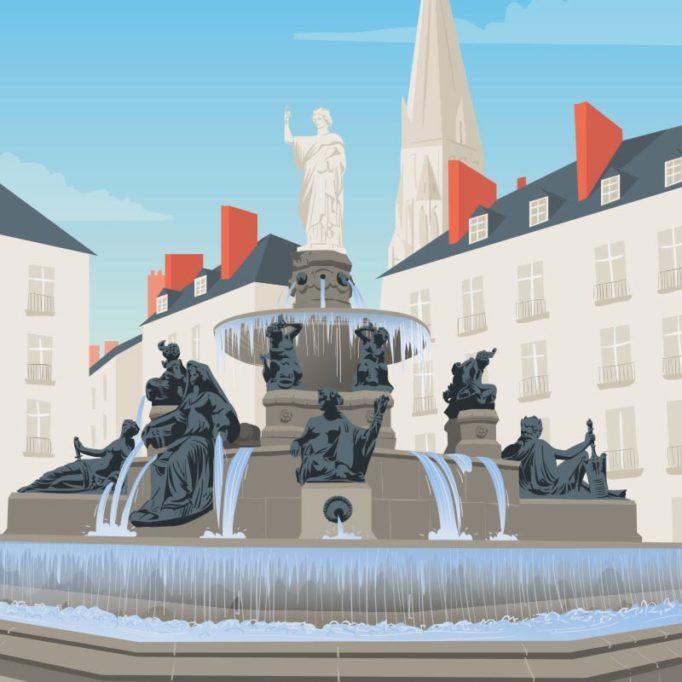 Illustration de la place Royale, Nantes