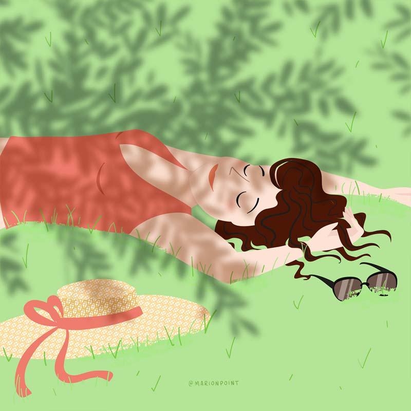 marion point : endormie au soleil