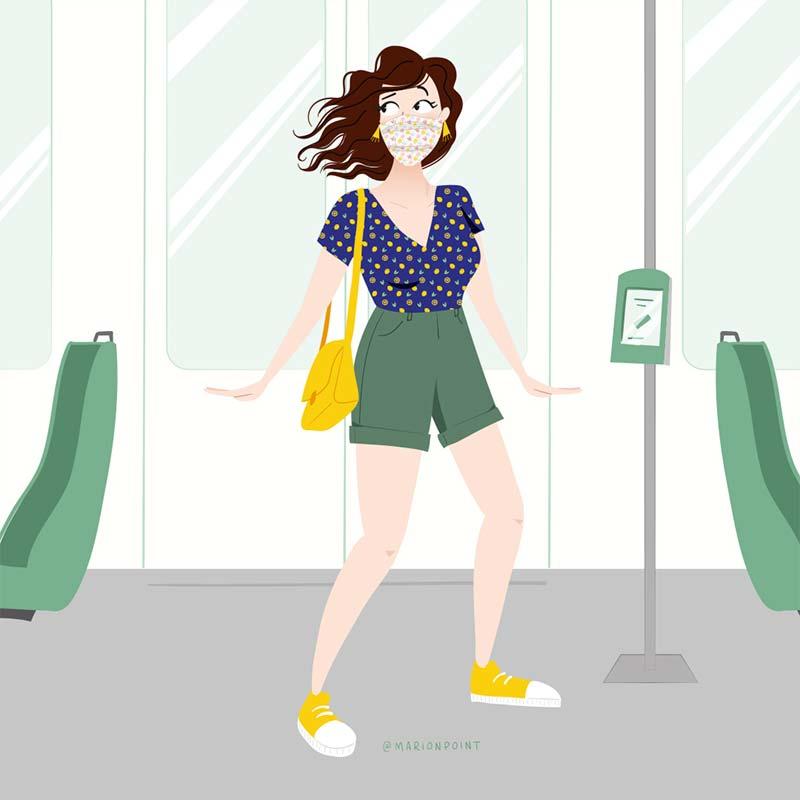 marion point : dans le tram après le déconfinement
