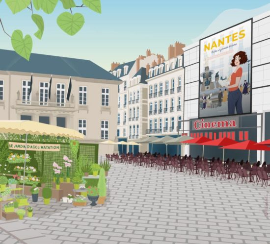Illustration de la place du Commerce, Nantes