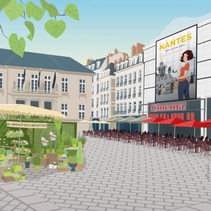 Illustration de la place du Commerce, Nantes