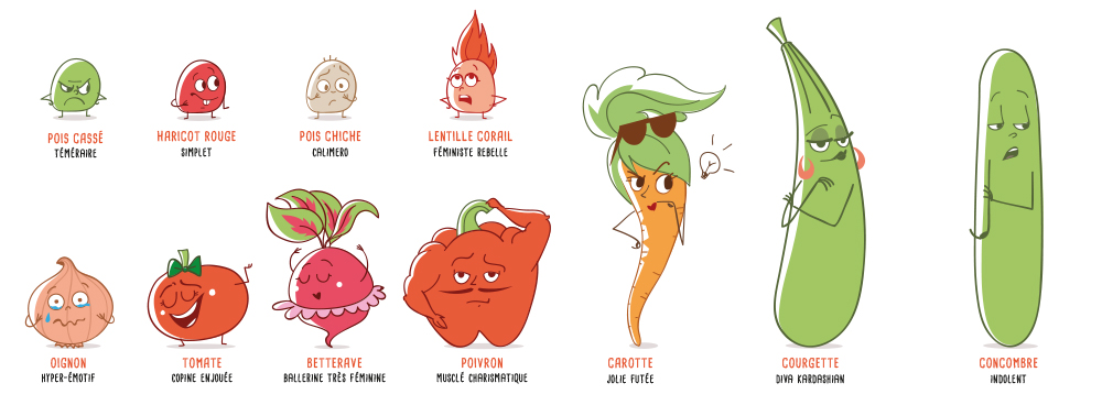 Gamme de légumes illustrés